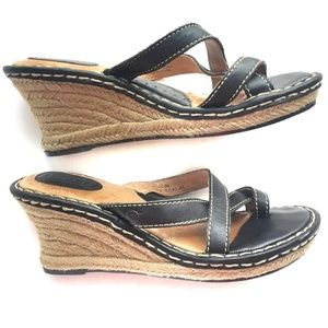 BORN Black sandals, jute wedge heels (size 8M)